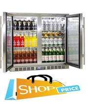 Rhino Stainless Steel 2 Door Triple Glazed Glass Bar Fridge
