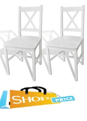 vidaXL 2 pcs White Wood Dinning Chair